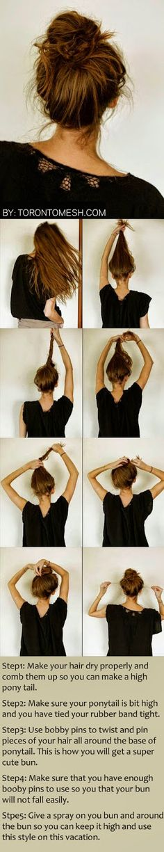 Messy Bun Hairstyles For Long Hair Step By Step - Toronto, Calgary, Edmonton, Montreal, Vancouver, Ottawa, Winnipeg, ON