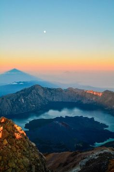 View from the summit of Mount Rinjani in Lombok, Indonesia.