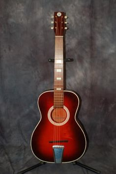 """Today, Lawman Guitars is Presenting..  A very rare 1970 Sears and Roebuck Model 319.124900000 Stella Style Acoustic Guitar.  These guitars were made by Harmony for Sears and featured the """"Atomic"""" Logo design. It was actually just an S and R for Sears and Roebuck.. Give us a call. Lawman Guitars. 515-864-6136"""