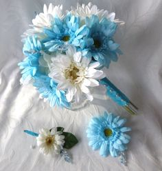 Silk flower bridal bouquet boutonnieres malibu and creme gerbera daisies wedding bouquets package via Etsy