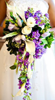 """Purple and ivory cascade wedding bouquet. Photo by Grandeur Photography, bouquet by A Special Day Designs"". Another pretty bouquet Cascading Wedding Bouquets, Cascade Bouquet, Purple Wedding Flowers, Bride Bouquets, Bridal Flowers, Floral Bouquets, Floral Wedding, Beautiful Flowers, Flower Arrangements"