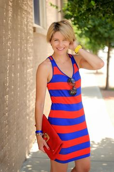 s e e r s u c k e r + s a d d l e s.             Red and blue striped tank dress
