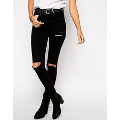 ASOS Ridley Jeans in Black with Thigh Rip and Busted Knees (€19) ❤ liked on Polyvore featuring jeans, destroyed jeans, destructed skinny jeans, asos jeans, torn jeans and torn skinny jeans