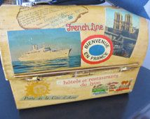 French Ephemera Decoupage Lunch DOME Box Paris Apartment Office STORAGE  Metal Thermos Tin Pail Mixed Media Art France Travel STUDENT Gift Tin Lunch Boxes, Vintage Lunch Boxes, Tin Pails, Apartment Office, Office Storage, Student Gifts, France Travel, Ephemera, Decoupage