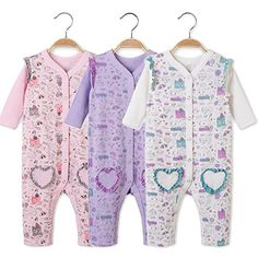 DIDIDA Baby and Toddler Girls Cotton Long Sleeve Footless Sleeper Pajamas 1218 Months whitelavenderPale pink >>> You can find out more details at the link of the image. (This is an affiliate link)