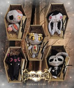 Frightlings Undead Plush! Adorable and cuddly Frightlings teddies all packaged in coffin boxes on a bed of wood wool with Undead Certificates<3 http://www.myfrightlings.com/gifts/undead-plush.html