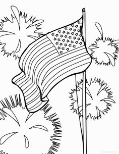 Cut and Color Double Sided American Flag Coloring Pages