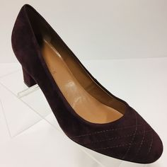 bccb03ec474 Talbots Womens Plum Size 6.5B Suede Leather Pumps 2.5 Inch Heels  Overstitching  fashion
