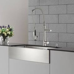 Kraus Farmhouse Single Bowl Stainless Steel Kitchen Sink, Commercial Pull Down Kitchen Faucet, Soap Dispenser inch single bowl farmhouse sink - Stainless Steel Finish), Grey Best Kitchen Sinks, Apron Sink Kitchen, Single Bowl Kitchen Sink, Farmhouse Sink Kitchen, Kitchen Sink Faucets, Kitchen Fixtures, New Kitchen, Kitchen Ideas, French Kitchen
