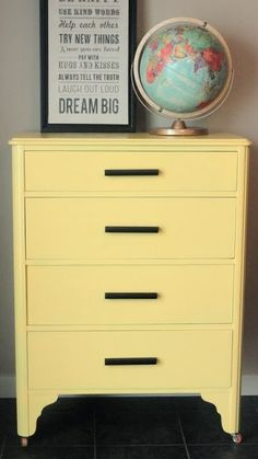 Finding Fabulous: Trash to Treasure...Awesome Dresser Makeover! Love it all- yellow dresser, globe, sign