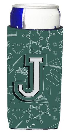 Letter J Back to School Initial Ultra Beverage Insulators for slim cans CJ2010-JMUK