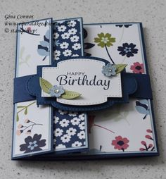 Fancy Fold Cards, Folded Cards, Card Making Tutorials, Card Making Techniques, Tarjetas Diy, Stampin Up Karten, Shaped Cards, Stamping Up Cards, Card Patterns