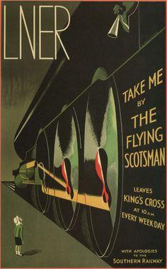 Afiche en favor de la línea férrea entre Londres y Edimburgo (1932).