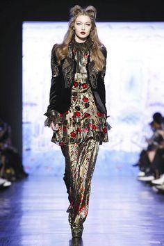 Gigi Hadid walks the runway for Anna Sui during New York Fashion Week