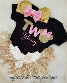 Minnie Mouse Birthday Shirt© - Black,Pink & Gold Sparkle Minnie Mouse Birthday - One Birthday Shirt - First Birthday- Minnie Birthday Party