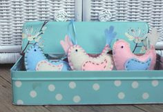 Baby Room Birds - set of three - French Macaroon pink blue white