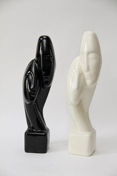 Vintage 80s Two Couple Statue / modern glazed by ESPRITVINTAGE, $45.00