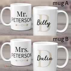 Mr and Mrs custom couple mug is a set of two mugs so that the couple can enjoy their morning coffee with style and much more love. Your husband/wife will surely love this attractive design. #couplemug #anniversarygift #personalized #mrandmrs