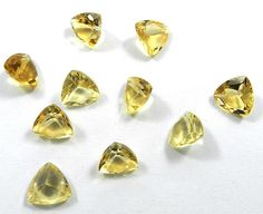 10Pc! Wholesale Lot NATURAL CITRINE 9x9mm Trillion Faceted Best Price Gemstone #Shining_Gems