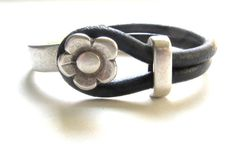 Women's  Black Leather Bracelet with Flower  Hook Clasp  Women's  Gift, For Her, Black and Silver, Leather Jewelry on Etsy, $48.00