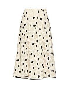 OSCAR DE LA RENTA Fil Coupé Silk-Blend Midi Skirt. #oscardelarenta #cloth #skirt