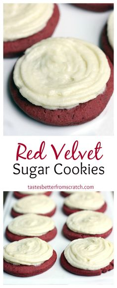 Red Velvet Sugar Cookies with Cream Cheese Frosting on MyRecipeMagic.com