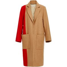 Whit Rothko Merino Wool Coat (4.665 HRK) ❤ liked on Polyvore featuring outerwear, coats, color block coat, beige coat, top coat, long coat and long beige coat