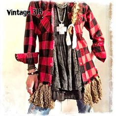 "Shop Women's Vintage 316 Black Red size M Button Down Shirts at a discounted price at Poshmark. Description: Traditional Buffalo Plaid with a Twist! One of a Kind, Upcycled and Altered to Perfection! Cozy, Casual and easy to wear. Snap closure, Western Back with Front Flap Pockets. Trimmed with Antique Crochet~ Check availability prior to purchase as my clothing is also sold at a local boutique. Measure 22"" across the back, under the arms, from seam to seam.. Sold by vintage316. Fast..."