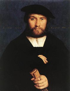 Hans Holbein the Younger-Member of the Wedigh Family: 1532 The sitter's ring displays the arms of the Wedighs of Cologne. He has sometimes been identified as Hermann Wedigh III, a merchant and member of the Hanseatic trading company in London. The quote from Terence on the sheet of paper was popular among humanists. The penetrating gaze and meticulous technique are characteristic of Holbein's work at its best.