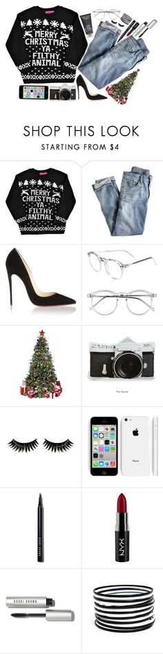 """""""merry xmas ♡"""" by zada ❤ liked on Polyvore featuring Boohoo, J.Crew, Christian Louboutin, H2O+, Wildfox, Bobbi Brown Cosmetics, NYX and byeloveyou"""