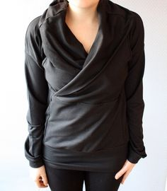 Bamboo Black Cowl Top