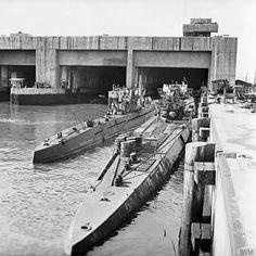 U-Boats in a hangar in Saint Nazairé, to supply