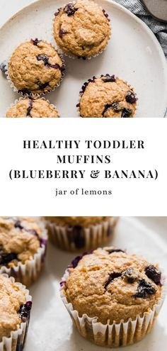 These Healthy Toddler Muffins are such a hit! Made with blueberry, mashed banana, and oatmeal, they're easy to make and perfect for breakfast or a wholesome snack. Your little one will love how perfectly soft and moist these tasty muffins are! Lemon Recipes, Sweets Recipes, Brunch Recipes, Baby Food Recipes, Banana Blueberry Muffins, Blue Berry Muffins, Healthy Breakfasts, Healthy Snacks, Easy Healthy Recipes