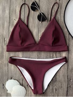 Cami Plunge Bralette Bikini Top and Bottoms - BURGUNDY L Mobile