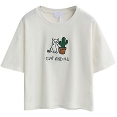 White Embroidery Letter And Cat Patch Short Sleeve T-shirt ($17) ❤ liked on Polyvore featuring tops, t-shirts, embroidered tops, cat tee, round top, embroidery t shirts and embroidered t shirts