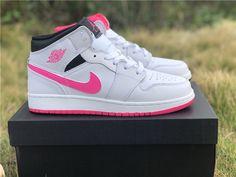 d730fb649a5 2019 Air Jordan 1 Mid Hyper Pink White Black For Girls-6 Jordan 1 White
