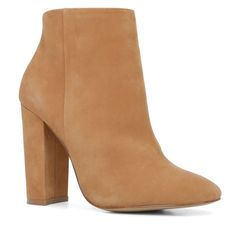 """Tan Leather Booties Worn once, size says 8 but would fit a 7.5 much better. Heel height is 4"""". Still in pristine condition, worn for just an hour or less. Comes with box, got them for $140. Shoes Heeled Boots"""