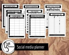 Social media planner pages -  Instant download printables- bloggers and Etsy shops by craftschmooze. Explore more products on http://craftschmooze.etsy.com