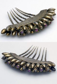 Indonesia ~ Central Java, Surakarta | Hair comb ~ péniti soesis sisir ~ silver and rhinestones | ca. 1940 or earlier