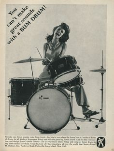 1966 Sonor Drums ad - 'You can't make great sounds with a BUM DRUM!'