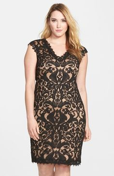 Plus Size Cocktail Dress - Tadashi Shoji V-Neck Illusion Lace Sheath Dress (Plus Size) | Nordstrom