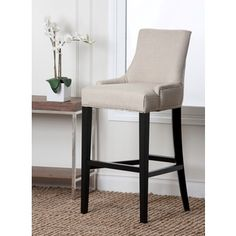 Abbyson Living Newport Off-white Fabric Nailhead Trim Bar Stool | Overstock.com Shopping - Great Deals on Abbyson Living Bar Stools