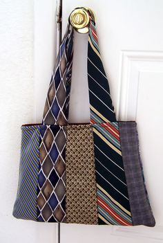 Necktie purse. Uses 10 neckties. I would like to make a regular tote and use…