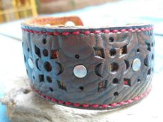 Handmade brown leather and Mexican fabric armband with silver metal studs and snaps, by FeekoByDesign, $36.00