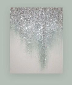 Glamorous silver and white glitter artwork. This would be awesome as an accent wall. Glamorous silver and white glitter artwork. This would be awesome as an accent wall. Glitter Kunst, Glitter Canvas, Glitter Art, White Glitter, Diy Canvas, Glitter Walls, Glitter Accent Wall, Metallic Gold, Glitter Home Decor