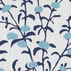Prints Fabric - Lapis Leaf/Foliage/Vine Floral - Stylized Fabric Pattern