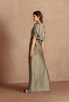 Vestido longo de linho com pala no quadril Ateen powerlook