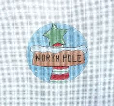 Peppermint North Pole Sign w/Star  Handpainted Needlepoint Canvas #Unbranded