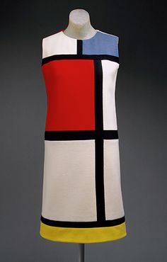 "Yves Saint Laurent's ""Mondrian"" day dress, from Autumn 1965;  The Metropolitan Museum of Art , Mondrian painting  sheath dress, which is now part of the permanent collection of the Metropolitan Museum of Art's Costume Institute in New York City"