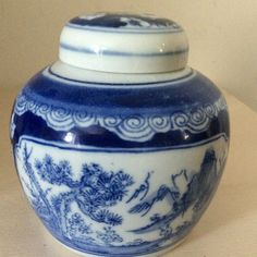 Chinese Blue and white ginger jar with blossoms & mountain scenery Prunus, Ginger Jars, Gold Accents, White Ceramics, Blossoms, Oriental, Scenery, Mountain, Chinese